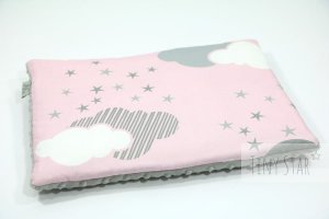 Minky Baby Pillow 30x40 Minky Silver & Rosy Puffs