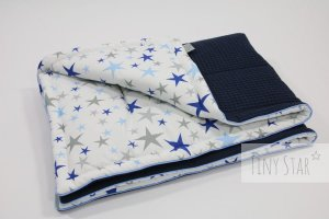 Kocyk Cotton-waffel 75x100 Midnight & Blue Stars