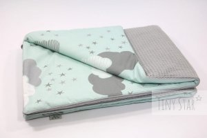 Kocyk Cotton-waffel 75x100 Grey & Minty Puffs